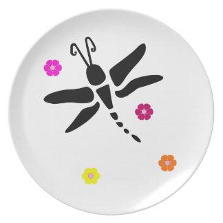 Assiettes En Mélamine libellule et fleurs