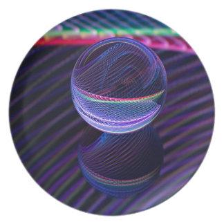 Assiettes En Mélamine Lignes Checkered dans la boule en verre
