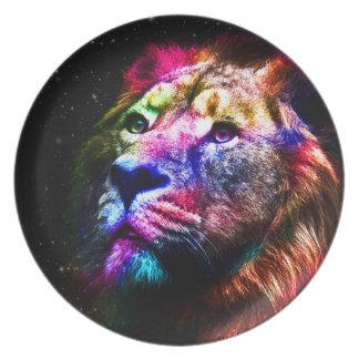 Assiettes En Mélamine Lion de l'espace - lion coloré - art de lion -