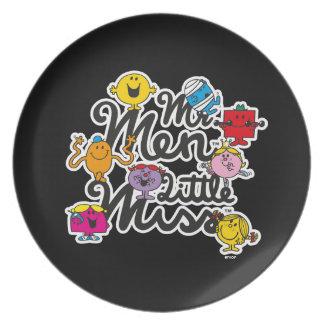 Assiettes En Mélamine Logo de groupe de M. Men Little Mlle  