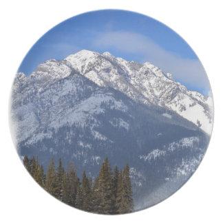 Assiettes En Mélamine Loup de Banff en hiver avec la cascade de Mt