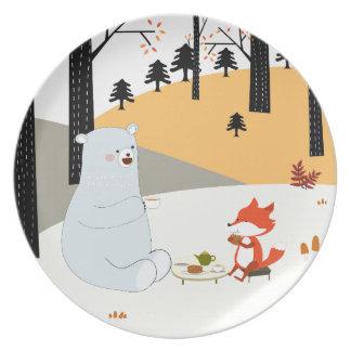 Assiettes En Mélamine Loup mignon vintage de renard d'été de ressort et