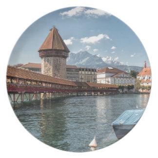 Assiettes En Mélamine Luzerne de pont de chapelle, Suisse