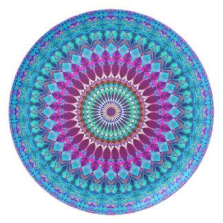 Assiettes En Mélamine Mandala géométrique G382 de plat