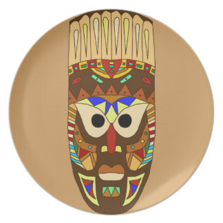 Assiettes En Mélamine masque africain traditionnel