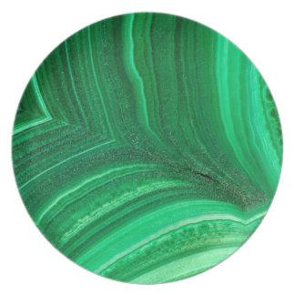 Assiettes En Mélamine Minerai vert clair de malachite