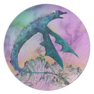 Assiettes En Mélamine Monstre blanc de dragon volant au-dessus de