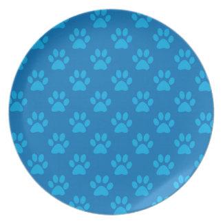 Assiettes En Mélamine Motif bleu de pattes de chiot