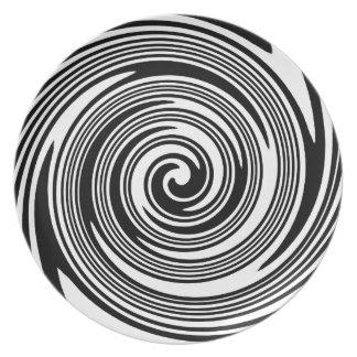 Assiettes En Mélamine Motif de tourbillonnement noir et blanc