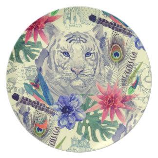 Assiettes En Mélamine Motif indien vintage de tigre de style