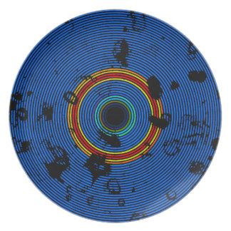 Assiettes En Mélamine Motif multicolore de texture de disque de vinyle