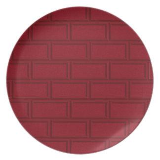 Assiettes En Mélamine Motif rouge frais de mur de briques de bande