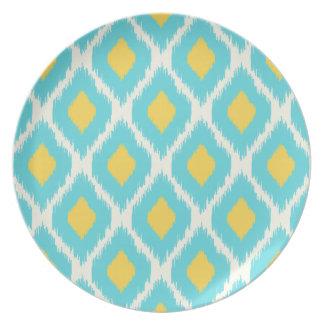 Assiettes En Mélamine Motif tribal aztèque jaune bleu à la mode d'Ikat