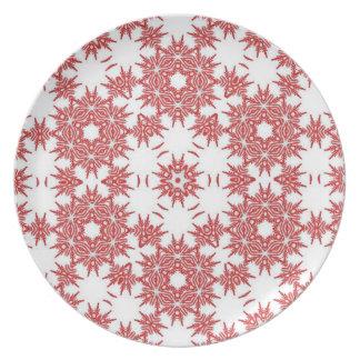 Assiettes En Mélamine Motifs rouges et blancs de flocon de neige