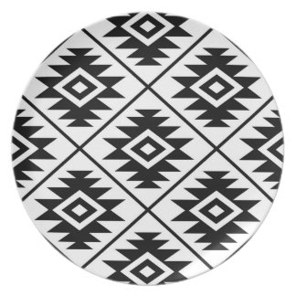 Assiettes En Mélamine Noir stylisé d'atterrisseur Ptn de symbole aztèque
