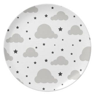 Assiettes En Mélamine Nuages et étoiles gris de noir