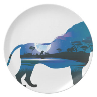 Assiettes En Mélamine Nuit africaine avec le lion 2