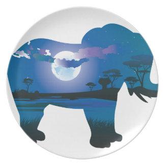 Assiettes En Mélamine Nuit africaine avec l'éléphant 2