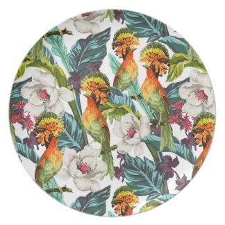Assiettes En Mélamine Oiseau et motif de fleur exotique