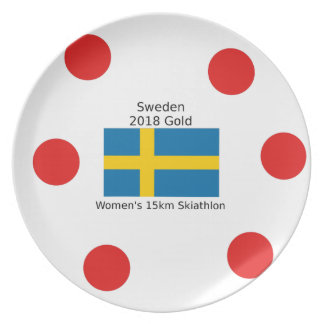 Assiettes En Mélamine Or 2018 de la Suède - 15km Skiathlon des femmes