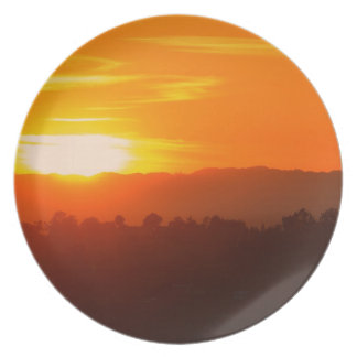 Assiettes En Mélamine Orange orange Sun de ciel de Hollywood Los Angeles