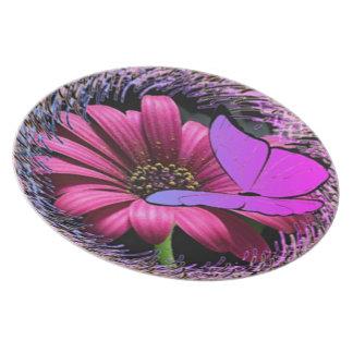 Assiettes En Mélamine Papillon sur la marguerite