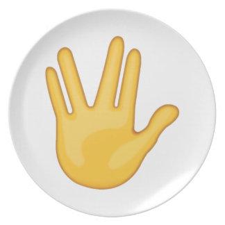 Assiettes En Mélamine Partie entre le milieu et les doigts d'anneau -
