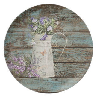 Assiettes En Mélamine pays français en bois de grange bleue de fleur