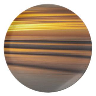 Assiettes En Mélamine Paysage marin abstrait au coucher du soleil, CA
