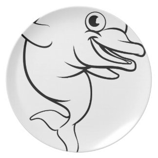 Assiettes En Mélamine Personnage de dessin animé de dauphin
