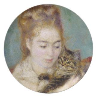 Assiettes En Mélamine Pierre une femme de Renoir | avec un chat