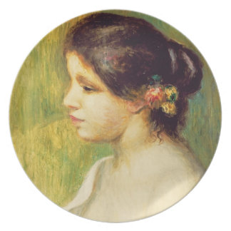 Assiettes En Mélamine Pierre une jeune femme de Renoir | avec des fleurs