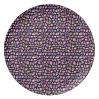 Assiettes En Mélamine Pierres gemmes vives