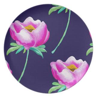 Assiettes En Mélamine Pivoines roses sur la marine