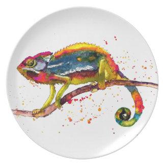 Assiettes En Mélamine Plaque avec le caméléon handgemaltem