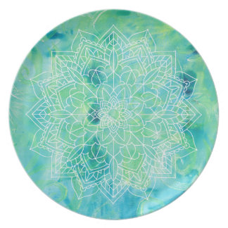 Assiettes En Mélamine Plat abstrait de Monoprint de turquoise