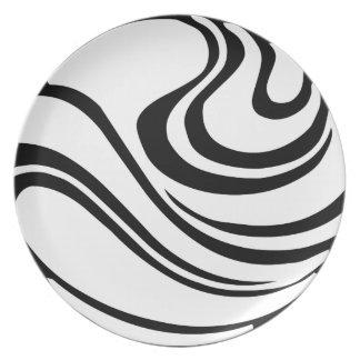 Assiettes En Mélamine Plat abstrait noir et blanc simple de mélamine
