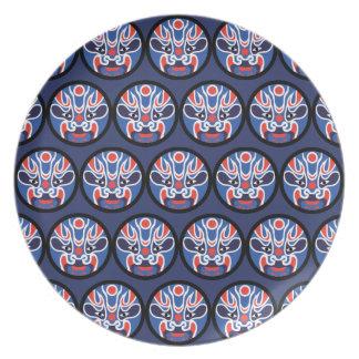 Assiettes En Mélamine Plat bleu de mélamine de masque de Jitaku