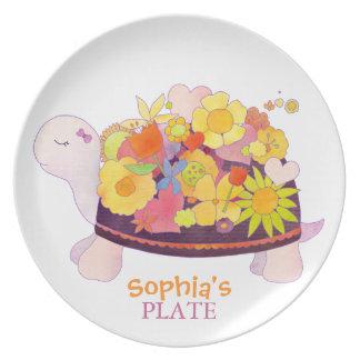 Assiettes En Mélamine Plat de bébé personnalisé par tortue de fleur