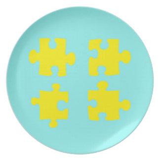 Assiettes En Mélamine Plat de morceau de puzzle