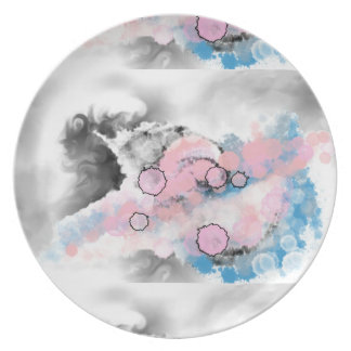 Assiettes En Mélamine Plat rêveur gris, bleu et rose de mélamine
