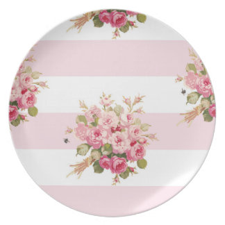 Assiettes En Mélamine Plat rose de rayure de pivoine du bouquet de Jane