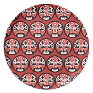 Assiettes En Mélamine Plat rouge de mélamine de masque de Jitaku