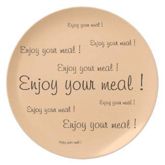 """Assiettes En Mélamine Plate/Assiette """"Enjoy your meal"""""""