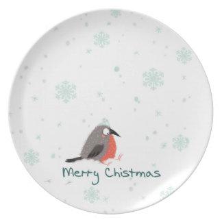 Assiettes En Mélamine Plats décoratifs de Joyeux Noël avec l'oiseau