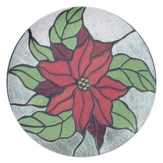 Assiettes En Mélamine Poinsettia en verre souillé