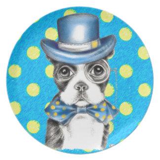 Assiettes En Mélamine Point de polka de Boston Terrier