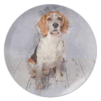 Assiettes En Mélamine Portrait mignon d'aquarelle de beagle