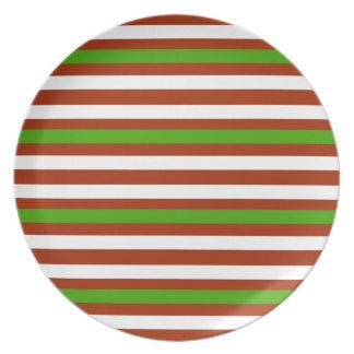 Assiettes En Mélamine Rayure blanche rouge verte