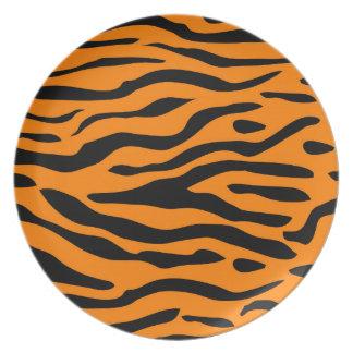 Assiettes En Mélamine Rayures de tigre - plats rayés de tigre audacieux